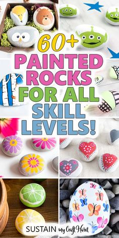 From woodland animals flowers Christmas characters and more find over 60 of the best DIY painted rocks ideas and tutorials to try. These easy painting projects are perfect for the garden as gifts or for simple decorating. Stone Crafts, Rock Crafts, Crafts To Do, Crafts For Kids, Easy Painting Projects, Rock Painting Ideas Easy, Diy Painting, Rock Painting Kids, Painting Canvas