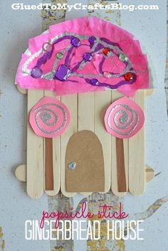 Popsicle Stick Gingerbread House - Kid Craft