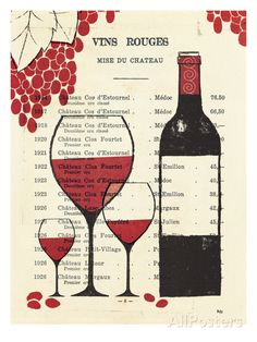 """""""Vins Rouges"""" - Red Wine Bottle & glass Art  -  """"Giggle Water I"""" by Mo  Mullan        __[Giclee Print at AllPosters.com] #grapes #cCreams #cRed"""