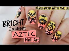 Mani-Swap with Ane Li ♥ Bright Gradient Aztec Nail Art | Nailed It NZ от Nailed It NZ | We Heart It