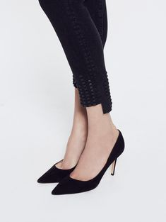 Look below. This high rise skinny doubles down on details with a step fray hem and studded detail. All black, all day long. Style no. Mother Denim, All Black, Kitten Heels, Pumps, Fancy, Ankle, Skinny, Zip, Legs