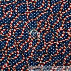BonEful Fabric Cotton Quilt Blue Red White America USA Stripe Star Stripe SCRAP #Benartex