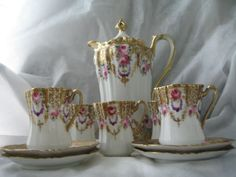 Antique  Chocolate Pot with 4 Cups & Saucers Scalloped unsigned RS Prussia