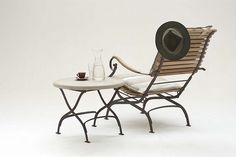 folding side table with recliner chair ©mikehallphoto.com