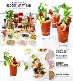 This boozy bloody mary loaded alcohol cocktail recipe is a heartily delicious adult beverage that doubles as an appetizer snack. The Bloody Mary is a very Bloody Mary Bar, Party Food Bars, Party Food And Drinks, Brunch Recipes, Cocktail Recipes, Margarita Recipes, Brunch Bar, Brunch Food, Vodka Lime