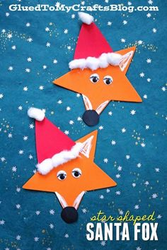 Craft Foam Star Santa Fox - Kid Craft ideas for kids christmas Craft Foam Star Santa Fox - Christmas Kid Craft Idea Kids Crafts, Fox Crafts, Santa Crafts, Christmas Ornament Crafts, Preschool Christmas, Noel Christmas, Christmas Crafts For Kids, Craft Stick Crafts, Preschool Crafts