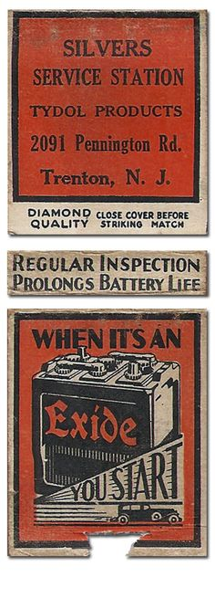 Exide Battery #Matchbook To Design & order your business' # matches from GetMatches.com #phillumeny