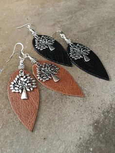 "Leather Earring with Tree of Life Focal-Pierced-Black-Brown-BohoChic-Handmade-mSs-3-1/4"" Long-Trend-Jewelry-Whimsical-Leather Jewelry"