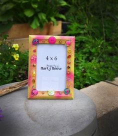 Boheminan Picture Frame/Pink & Yellow/Kids Picture Frame/4x6/4x6 Picture Frame/Star Decor/Butterfly Frame/Colorful Frame/Girl 4x6/Bear Frame by Designsbymartymouse on Etsy