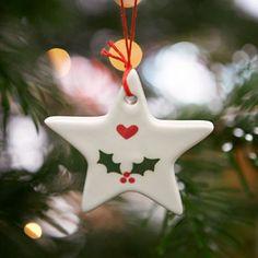 Christmas Decoration Star - Holly / Heart