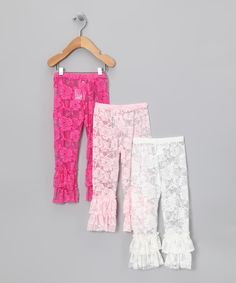 Take a look at this Pink & White Lace Ruffle Leggings Set - Toddler & Girls on zulily today!