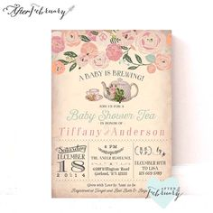 Tea party invitation baby shower invitation bridal shower baby shower tea party invitation a baby is brewing vintage peach background tea party invite printable filmwisefo