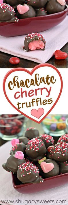 """These sweet Chocolate Covered Cherry Truffles are the perfect way to say """"I love you"""" this Valentine's Day! A sweet cherry fudge dipped in chocolate, you'll want to make this recipe any time of year! NEED TO THM THE WHITE CHOCOLATE Fudge, Chocolate Covered Cherries, Chocolate Cherry, White Chocolate Chips, Holiday Baking, Christmas Baking, Christmas Candy, Köstliche Desserts, Delicious Desserts"""