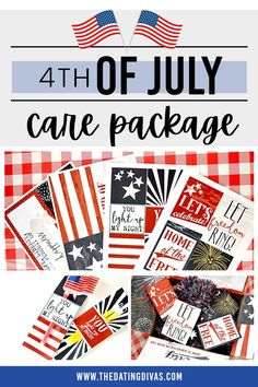 Fun 4th of July Care Package ideas & free printables too. Dating Divas, Patriotic Party, Lets Celebrate, Family Traditions, Light Up, 4th Of July, Free Printables, Packaging, Fun