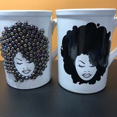 Diy Mug Designs, Diy And Crafts, Arts And Crafts, African American Makeup, Diy Mugs, Cricut Creations, American Hairstyles, Black Hairstyles, Prom Hairstyles