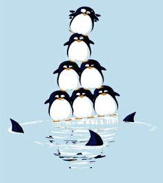 Ein Pinguin Shirt, das die Erderwärmung mal ganz anders darstellt.