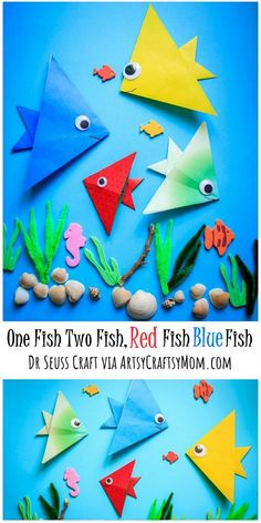 One Fish Two Fish Red Fish Blue Fish Dr. Seuss Craft. A Simple Origami fish craft to go with Dr. Seuss' book One Fish Two Fish Red Fish Blue Fish. Great for Dr. Seuss' Birthday or Read Across America Day #drseuss #origami #readacrossamerica #onefishtwofish #drseussday