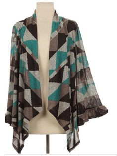 Triangular Print Black Gray and Turquoise Cardigan Top