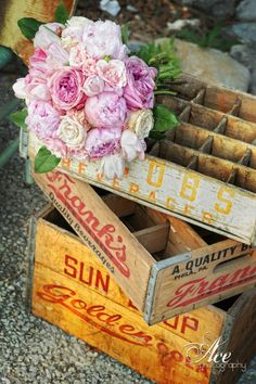 Vintage Wooden Cartons Add #ShabbyChic Flair I Southern Events Party Rental