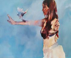Helen van Stolk | Blue Bird Calling - painting of a girl and bird, available for sale | StateoftheART