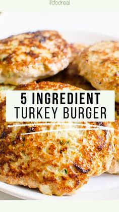 Juicy and flavorful Turkey Burger Recipe with 5 simple ingredients. And one secret ingredient holds turkey burgers together without the breadcrumbs. Best Turkey Burgers, Ground Turkey Burgers, Turkey Burger Recipes, Grilled Turkey Burgers, Healthy Turkey Recipes, Mince Recipes, Healthy Family Meals, Ground Turkey Recipes, Cooking Recipes