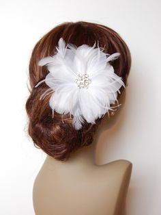 Large Plush Plumeria Feather & Organza Flower Fascinator: F026 made to order $60
