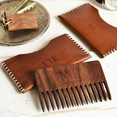 Wooden beard comb with leather case