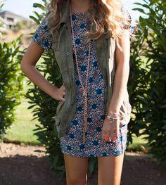 Shift Dress + Utility Vest - Twenties Girl Style