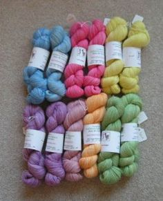 Here's the yarn I dyed earlier this week.  All ready for the festival this weekend.  lace - 4 oz, 600 yd, $20, sport - 6 oz, 330 yd, $27