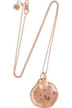Monica Vinader|Siren and Riva rose gold-plated quartz necklace|NET-A-PORTER.COM