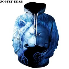 Sale Today $17.44, Buy Day Night Lion 3D Sweatshrits Men Women Printed Hoodies Hot Sale Quality Fashion Novelty Pullover Casual Tracksuit 6xl Plus Coat