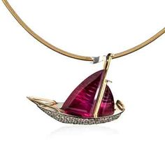 """""""Red Sails in the Sunset"""" sailboat slide pendant"""" 7.60ct fancy cut pink tourmaline and 2.10tcw diamonds set in 18K yellow gold. Image courtesy of Leslie Weinberg Designs. GIA (071614)"""