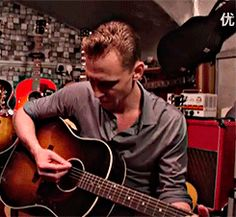 Tom Hiddleston sings Hank Williams in a London guitar shop – video interview http://www.theguardian.com/film/video/2016/may/09/tom-hiddleston-hank-williams-guitar-shop-i-saw-the-light-video-interview
