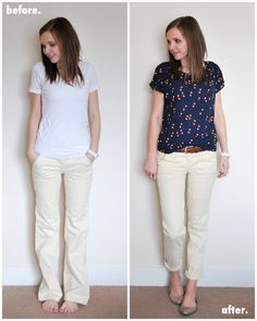 How to make wide leg pants into skinny or slimmer leg pants.