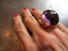 1stdibs.com | Rose Gold Ruby Amethyst Cocktail Ring by Gioia