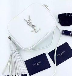 Mini Yves Saint Laurent White Leather Fringed Shoulder Bag.The latest fashion designer handbags for this summer #ysl #handbags