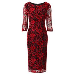 Red Black 3/4 Sleeve Flock Rose Floral Bodycon Dress