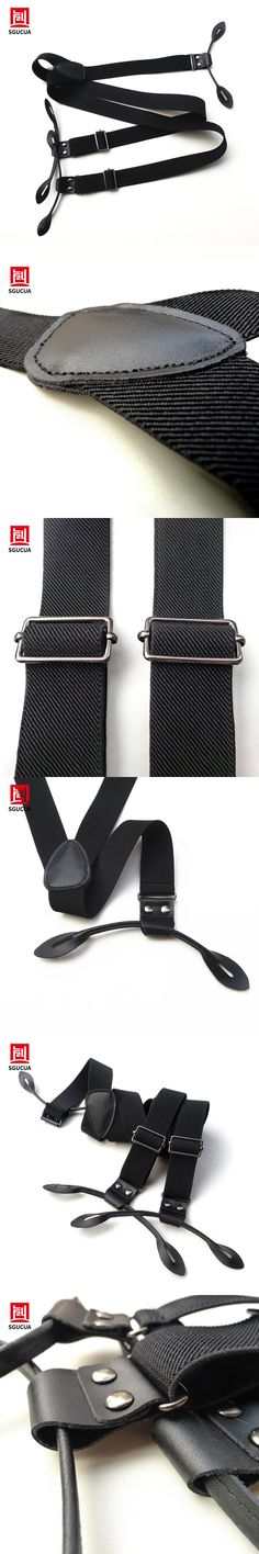 Free shipping 2017 new Style genuine leather elastic black button type suspenders casual suspenders Braces men new suspenders