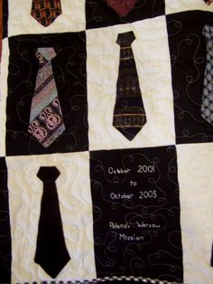 Missionary Quilt!  Take their old ties they wore while they were out so they always have them.