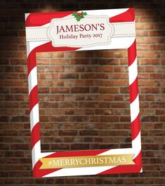 Printed and Shipped Candy Cane Holiday Themed Photo Booth. Christmas Party Menu, Office Christmas, Christmas Frames, Christmas Party Decorations, Kids Christmas, Holiday Parties, Holiday Photo Frames, Christmas Photo Booth, Holiday Photos