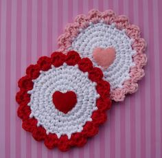 Candy Hearts Coaster - Free Pattern