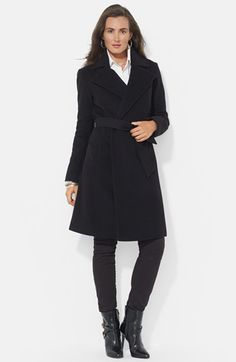 Lauren Ralph Lauren Wool Blend Wrap Coat (Online Only) available at #Nordstrom