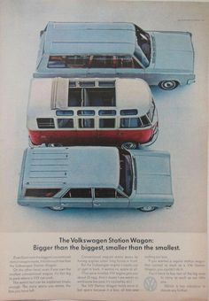 The Volkswagen Station Wagon: Bigger than the biggest, smaller than the smallest - VW Bus / Van Volkswagen 181, Volkswagen Transporter, Volkswagen Safari, Bus Volkswagen, Transporter T3, Vw Vintage, Vintage Prints, Vw T1 Samba, Art Hippie