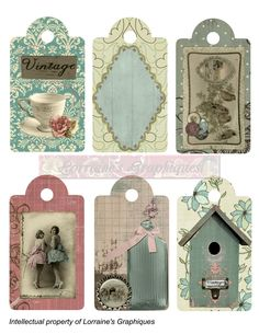 Shabby Chic 6 Gift Tags by LorrainesGraphiques Vintage Tags, Vintage Labels, Vintage Paper, Paper Art, Paper Crafts, Diy Crafts, Shabby Chic Gifts, Etiquette Vintage, Printable Tags