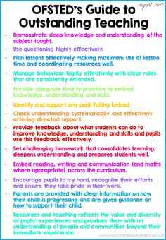 UK Teachers: OFSTED guide to outstanding teaching! Print this off and display in your office, planner or classroom! You can download this and other free resources for UK teachers in the UK Teacher Tribe Facebook group!     It's free to join: https://www.facebook.com/groups/UKTeacherTribe/
