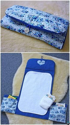 Sewing Baby DIY Baby Travel Changing Pad Diaper Case with Side Pocket Sew Pattern Picture Instructions - Baby Changing Pad Travel Diaper Clutch Bag Sew Pattern Free: Portable Baby Travel Changing Pad / Mat with Diaper Bag Storage All-in-One Instructions Baby Changing Mat, Diaper Changing Pad, Diaper Clutch, Clutch Bag, Diaper Bags, Easy Baby Blanket, Diy Bebe, Baby Sewing Projects, Diy Couture