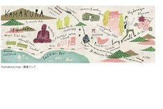 Masako Kubo's map of Kamakura for They Draw & Travel