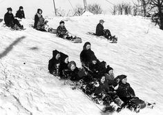 """.....What fun to load all of our neighborhood friends on our toboggan as we went """"flying"""" and screaming down the hill in winter."""