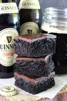 Guinness Brownies super moist and chewy brownies! A delicious mix between cake and fudgy! You wont be able to stop eating them! The post Guinness Chocolate Brownies appeared first on Orchid Dessert. Guinness Recipes, Beer Recipes, Irish Recipes, Brownie Recipes, Cooking Recipes, Dog Recipes, Recipies, Chewy Brownies, Homemade Brownies