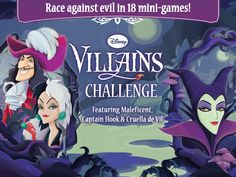Conquer Villain-specific challenges, Thwart evil plans and rush to spread goodness in Disney Villain Challenges! The free games feature Maleficent, Captain Hook, and Cruella De Vil! Funny Apps, Disney Villains, Disney Maleficent, Disney Princesses, Disney Images, Captain Hook, Mini Games, Free Apps, Character Design